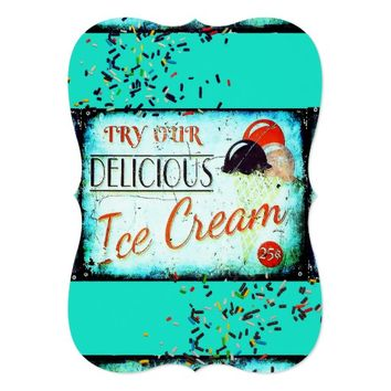 Vintage ice cream sign invitation