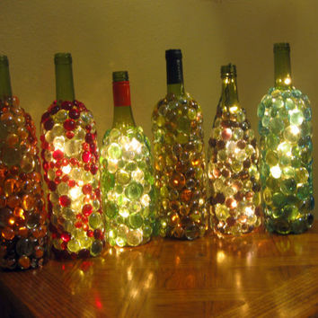 Glass gem embellished lighted wine bottles, night light or mood light