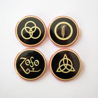 "Led Zeppelin symbols 4x1.5"" pinback button badge set from Stickerama"