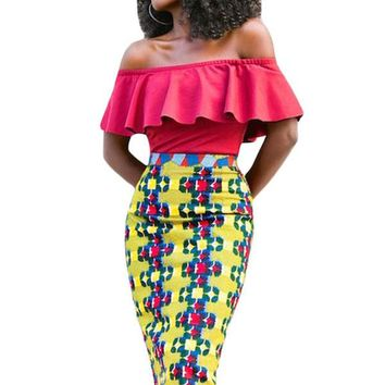 Mustard African Fashion Print Bodycon Midi Skirt