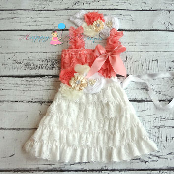 Girl's Coral White Dress/ Victorian White Coral Girl's Lace Dress