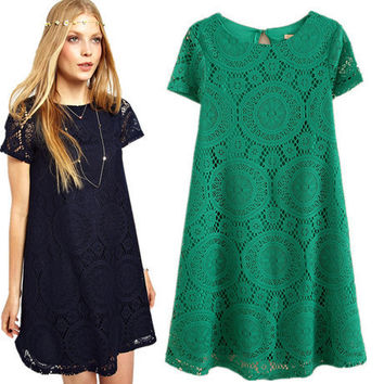 Lace Short Sleeve Dress One Piece Dress [6339028225]