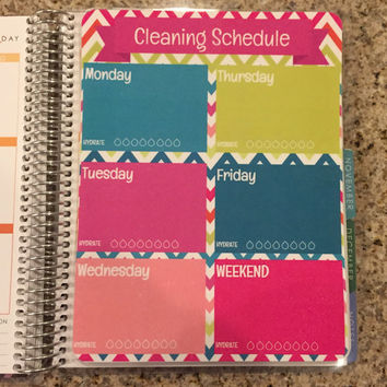 FREE SHIPPING Cleaning Schedule Hydrate & To Do List Laminated Dashboard Insert for Erin Condren Life Planner - clips right into coils!