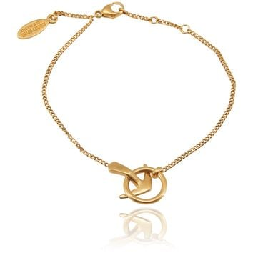 Roberto Cavalli Gold Plated Minimalistic Metal Arrow Bracelet