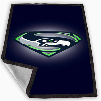 Seattle Seahawks Superman Blanket for Kids Blanket, Fleece Blanket Cute and Awesome Blanket for your bedding, Blanket fleece **