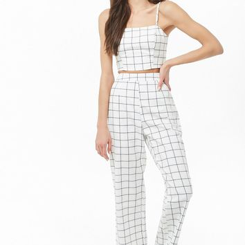 Grid Print Cropped Cami & Pants Set