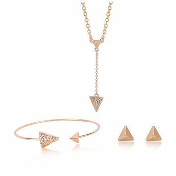 Crystal Triangle Pendant Wedding Necklace Earrings Jewelry Set