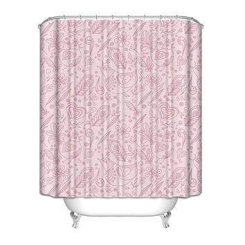 Purple Pink Paisley Floral French Style Fabric Shower Curtain