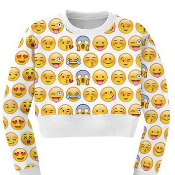 Women's Emoji Collage Sports Crop Top Fitness Sweatshirt