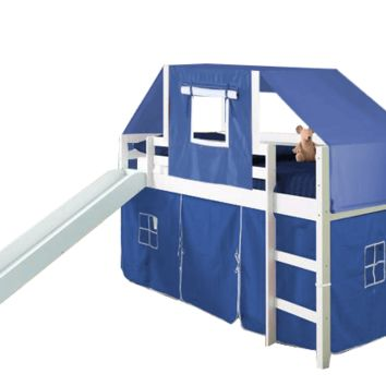 Micah White Loft Bed with Slide and Blue Tent