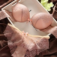 Sexy Underwear Women Bra Set Lingerie Set Luxurious Vintage Lace Embroidery Push Up Bra And Panty Set