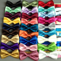 Boys Infants Toddlers Little Big Kids Satin Bow Tie Adjustable strap BowTie WEDDING PAGEANT RINGBOY