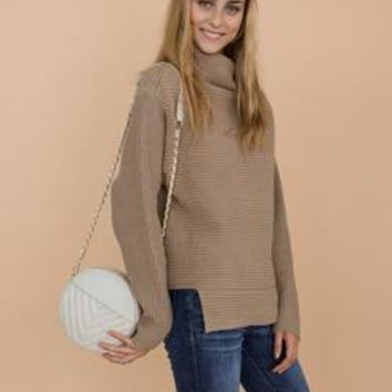 'Susan' Khaki Ribbed Funnel Neck Asymmetric Hem Sweater