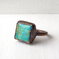 Turquoise Ring Raw Gemstone Size 6 Ring Birthstone Ring Cocktail Ring December Copper Jewelry