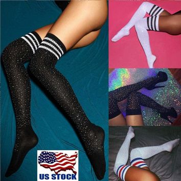 US Women Sexy Diamond Thigh High Long Stockings Fashion Knit Over The Knee Socks