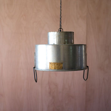 "Double Cylinder Metal Pendant Lamp- 17.25"" D- Raw Metal"
