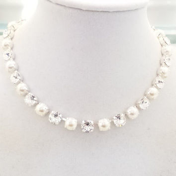 SWAROVSKI CRYSTAL NECKLACE, timeless elegance, diamond crystal and pearls, designer inspired, bridal, bridesmaid, stunning, classy, backdrop