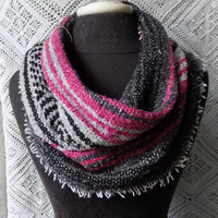 Bright Pink Mexican Blanket Small Cowl Scarf- Free Shipping to Continental US