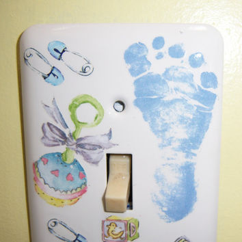 Baby Boy themed steel single light switch by MoanasUniqueDesigns