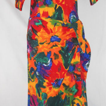 Vintage Psychedelic Dress Funky Floral Abstract Funky Dress Long California Goldrush Brand Colorful Bright All Over Print