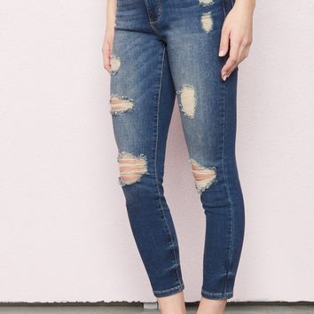 Portland Blue Retro High Waist Ankle Jeggings