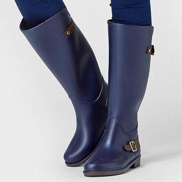 Knee High Blue Rain Boots