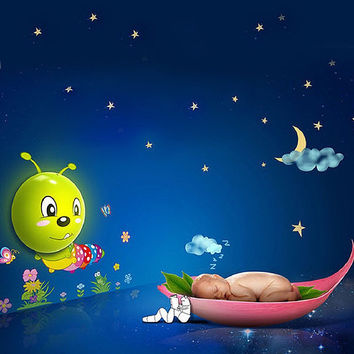 Cartoon Caterpillar LED Night Light 3D DIY Cute Wallpapers With Sensor Plug-in Wall for House Bedroom Decoration-Energy Saving