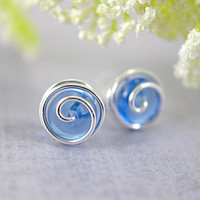 Cobalt blue glass rosebud post earrings clear sterling silver wire wrapped