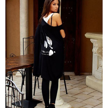 Skull back top / black skull tunic / loose top / black tunic / off shoulder top / black skull / one size
