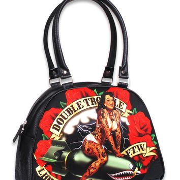 Liquorbrand Double Trouble Pin-Up Girl Rockabilly Punk Bowling Bag Purse Handbag