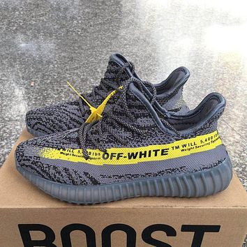 ADIDAS x Off White Yeezy Boost 350 V2 Woman Men Fashion Sport Sneakers Shoes Grey+yellow line