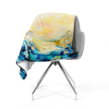 "Ebi Emporium ""The Reverie"" Yellow Blue Fleece Throw Blanket"