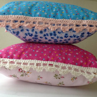 Two cushions with crochet edging