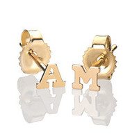 Small Solid 14k Gold Initial Stud Earrings