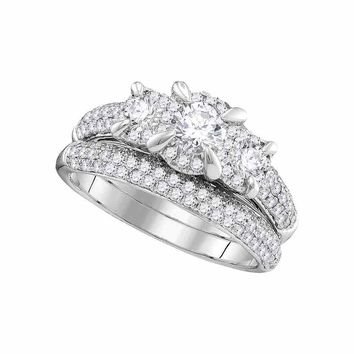 14k White Gold Womens Round 3-stone Diamond Bridal Wedding Engagement Ring Band Set 1-1/3 Cttw