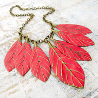 Red statement necklace Leaf jewelry