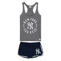 Women's New York Yankees Pink Victoria's Secret High Low Tank Top and Boxer Shorts Set