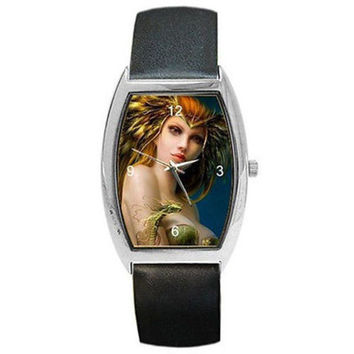 Fantasy Elf Lady w/ Dragon Magic on a Barrel Watch with Leather Bands ...NEW