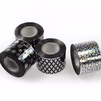 16Rolls 120m Hot Black Sexy Nail Designs Transfer Adhesive Patch Nail Art Glitter Foils for Tips Nails DIY JH01-16