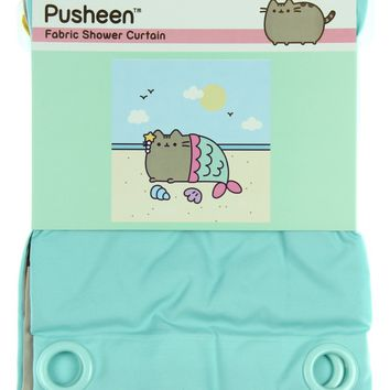 "Pusheen Cat Mermaid Fabric Shower Curtain 66"" X 99"""
