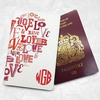 Letters Heart Personalised Custom Name Passport Cover Passport Holder with FREE Name Printing (BBS056)
