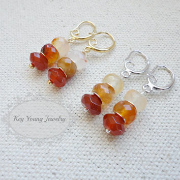 Red and Orange Carnelian Dangle Earrings, Wedding Jewelry, Bridesmaid Gift, Holiday Gift, Simple Everyday Jewelry
