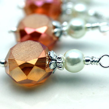 Beautiful Rose Gold Orange Faceted Etched Coin Crystal Bead Dangle Charm Drop Set - 4 Pieces