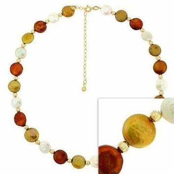 18K Gold over Sterling Silver White, Gold, & Amber Freshwater Cultured Coin Pearl Necklace