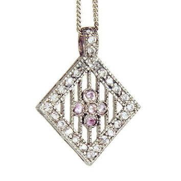Art Deco Necklace Silver Filigree Pendant Diamonds Pink Sapphire Sterling Silver, c. 1920s
