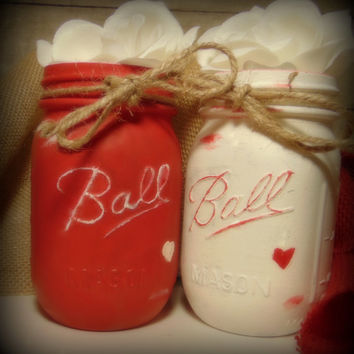 2 Hand Painted Mason Jars - Valentine's Day / Gift for Her / Home Decor / Vase/ Heart / Chalk Matte