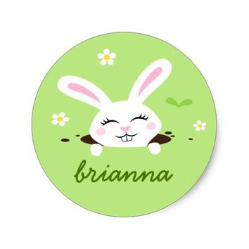 Cute bunny rabbit peeking out personalized name classic round sticker