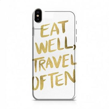 eat well travel often on gold iPhone X case