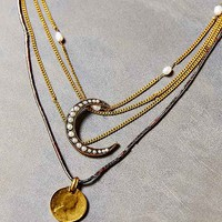 Triple Layer Half Moon Necklace- Gold One
