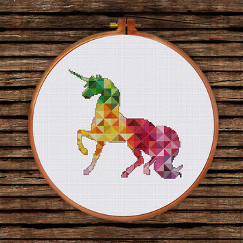 Geometric Unicorn cross stitch pattern| Modern baby fantasy animal counted chart| Colorful nursery design| DIY room house decor shower gift